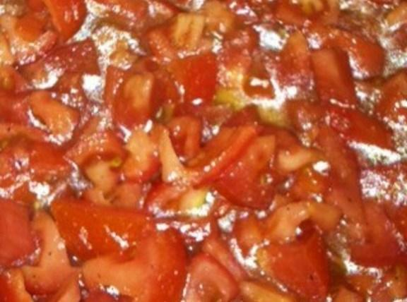 Dice Plum tomatoes. Put in a glass bowl,or other bowl. Do not use a...