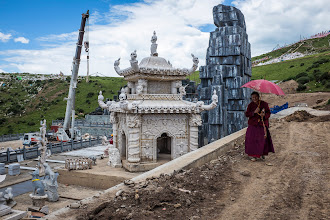 """Photo: At the old sky burial site the Chinese are building a hideous """"Temple of Death"""" to attract (chinese) tourists."""