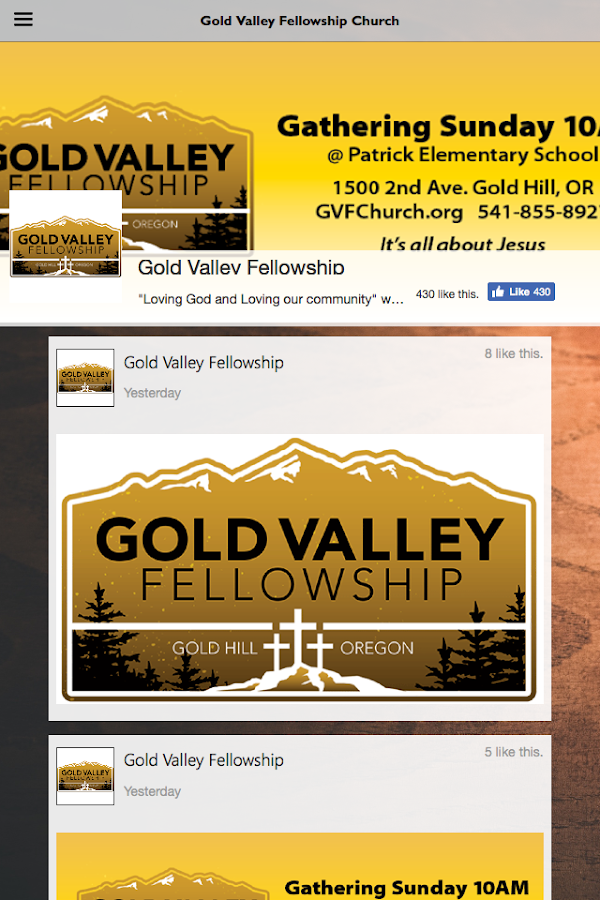 Gold Valley Fellowship- screenshot