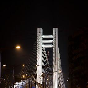 Night Bridge by Mircea Bogdan - City,  Street & Park  Street Scenes ( rail, night, bridge )