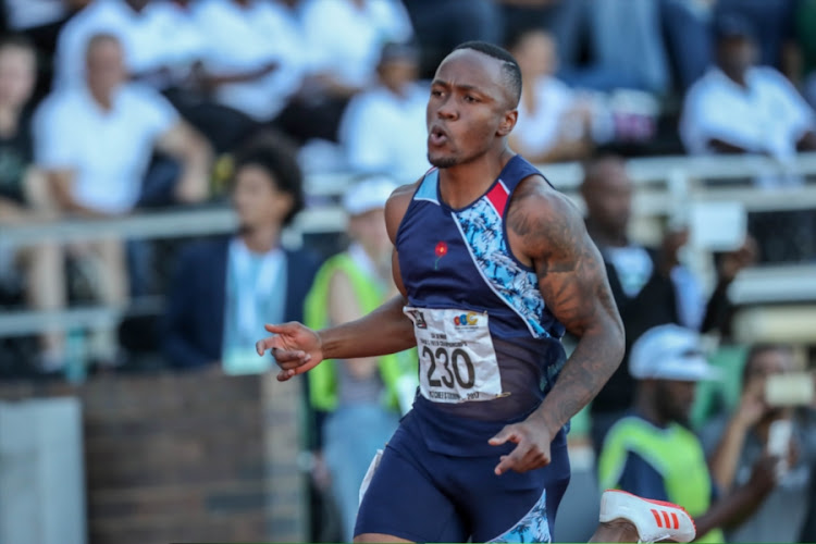 Akani Simbine wins the100m semi final during day 1 of the ASA Senior Championships at PUK McArthur Stadium on April 21, 2017 in Potchefstroom, South Africa.