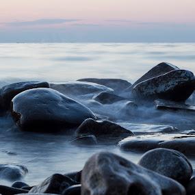 misty evening by Lucija Janša - Novices Only Landscapes ( slovenia, strunjan, sea, long exposure, beach, rocks, misty )