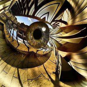 Golden Eye by Simon Eastop - Digital Art Abstract ( abstract, walkway, golden, eye,  )