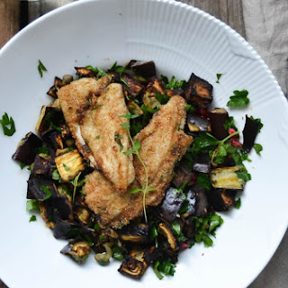 Favourite summer meal – Mustard & Herbed Stuffed Plaice on Roasted Aubergine