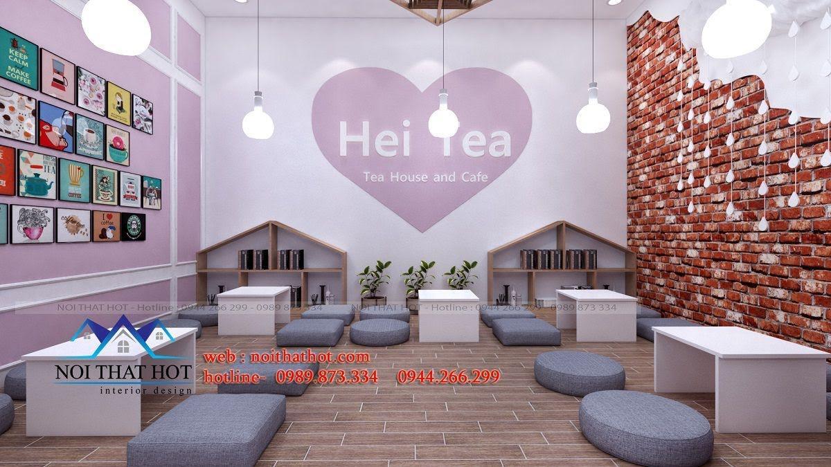 thiết kế quán trà sữa hei tea 5
