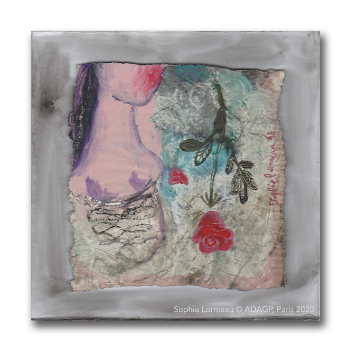 sentimentale-sophie-lormeau-2018-14x14-rose-portrait-renaissance-visage-rouge-artiste-femme-peinture-acrylique-papier-magazine-upcycling-art-contemporain-figuratif-singulier-faner-coeur-brisé-miniart-miniature-exvoto-adagp-paris-2020-ombre-MD-©