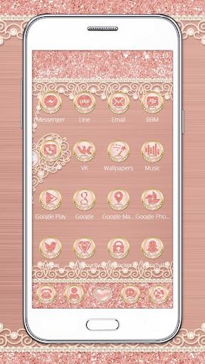 Rose Gold Launcher Diamond Heart Theme 1.1.1 screenshots 3