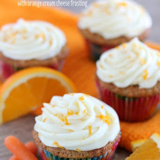 Coconut Carrot Cake Cupcakes with Orange Cream Cheese Frosting