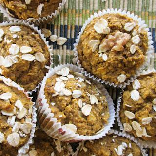 No Flour, Sugar Free, Oil Free, Dairy Free Healthy Pumpkin Muffins.