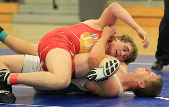 Photo: 220 pounds - 1st: Coyte Kuefner (Owatonna) won by pin over Cody Linssen (Park) (Pin 4:22)