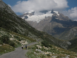 Photo: It's all uphill now until we hit the Italian border. Ahead, the Aiguille des Glaciers (12,519 ft.)