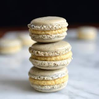 Earl Grey Tea Macarons with Orange Infused White Chocolate Ganache.