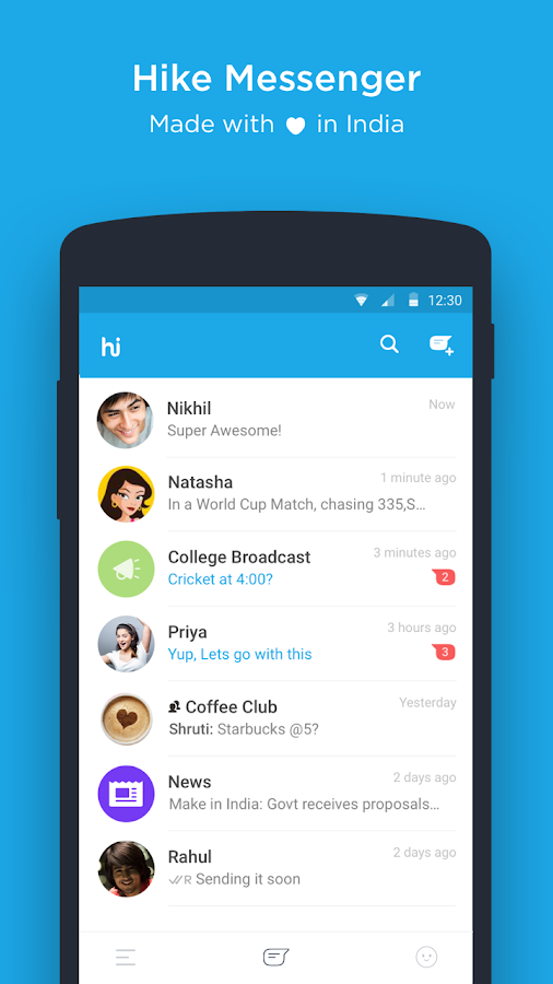 Screenshots of hike messenger for iPhone