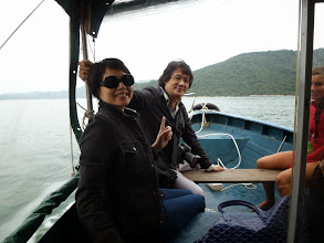 Photo: Nick & Anna on a boat ride from Yellow Stone Pier in Saigon