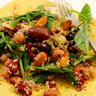 Couscous Bean Salad with Pea Shoots