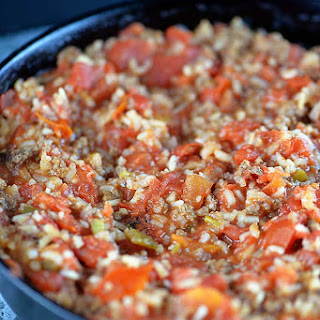 Skillet Spanish Rice with Ground Beef.