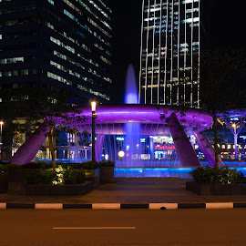 Fountain of Wealth by Bert Templeton - City,  Street & Park  Fountains ( wealth, largest, fountain, suntec, worlds largest, fountain of wealth, water, singapore, road, suntec city, street, singapore city, purple, copper, prosperity )
