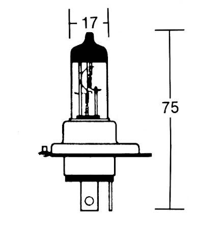H4 incandescent lamp 12V 60/55W P43t