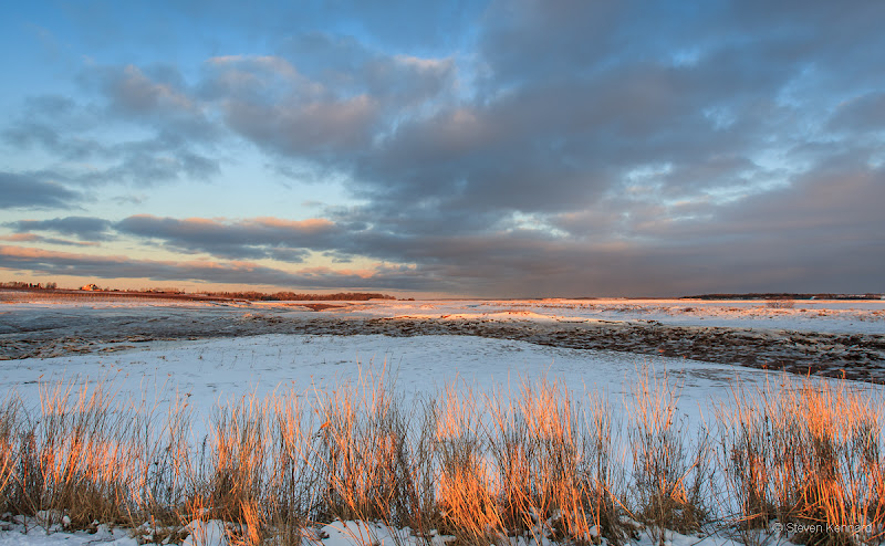 Photo: Sunset over the dykes with grasses