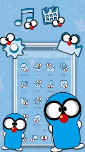 Funny Blue cartoon Theme - náhled