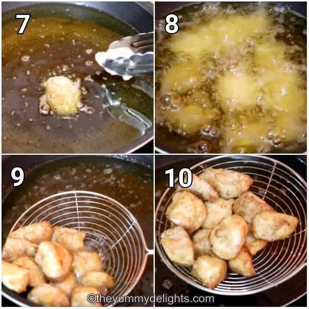 deep frying the chicken pieces to make chicken manchurian