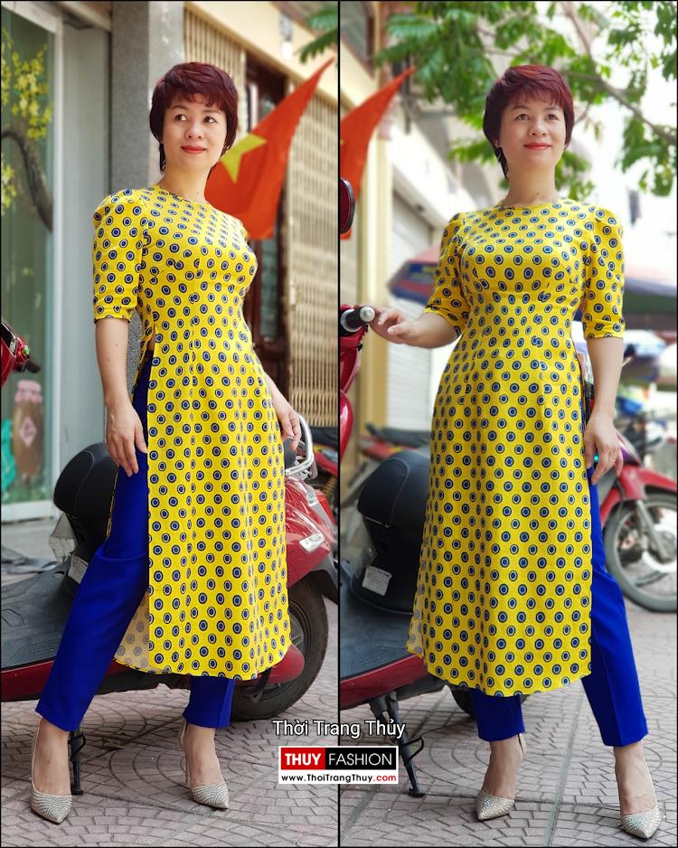 Áo dài cách tân chấm bi màu vàng xanh V704 thời trang thủy đà nẵng