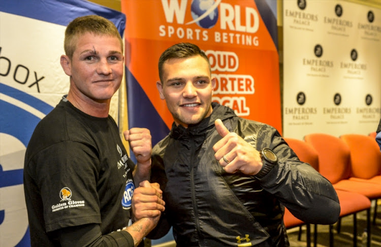 Boxers Thomas Oosthuizen and Kevin Lerena during the Emperors Palace, SuperSport and Golden Gloves announcement of the SuperSport/Emperors Palace Three Tournament Festival of Boxing at Lucretia Room on June 11, 2018 in Johannesburg.