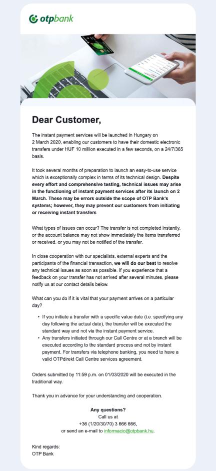 OTP bank banking email design