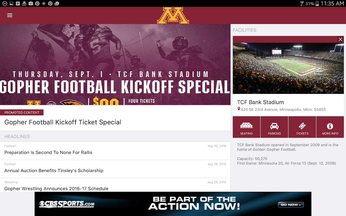 Minnesota Gophers Official App- screenshot