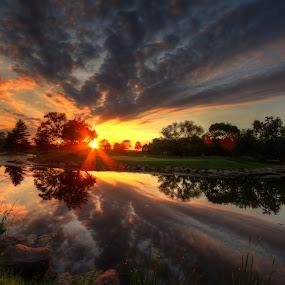 reflect by Casey Mitchell - Landscapes Sunsets & Sunrises ( sunset, golf, lake, nebraska, pond,  )