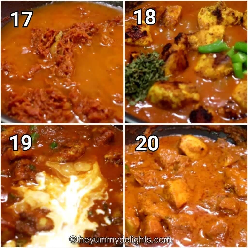 step by step image of addition of chicken tikka, chilies, kasuri methi & cream to the chicken tikka masala