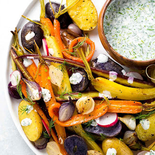 Roasted Root Vegetables with Ranch Sauce.