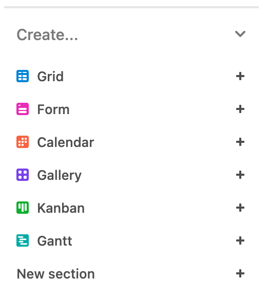 Screenshot of Airtable's view options.