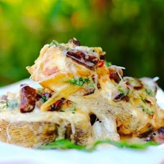 Perch Baked With Mushrooms.