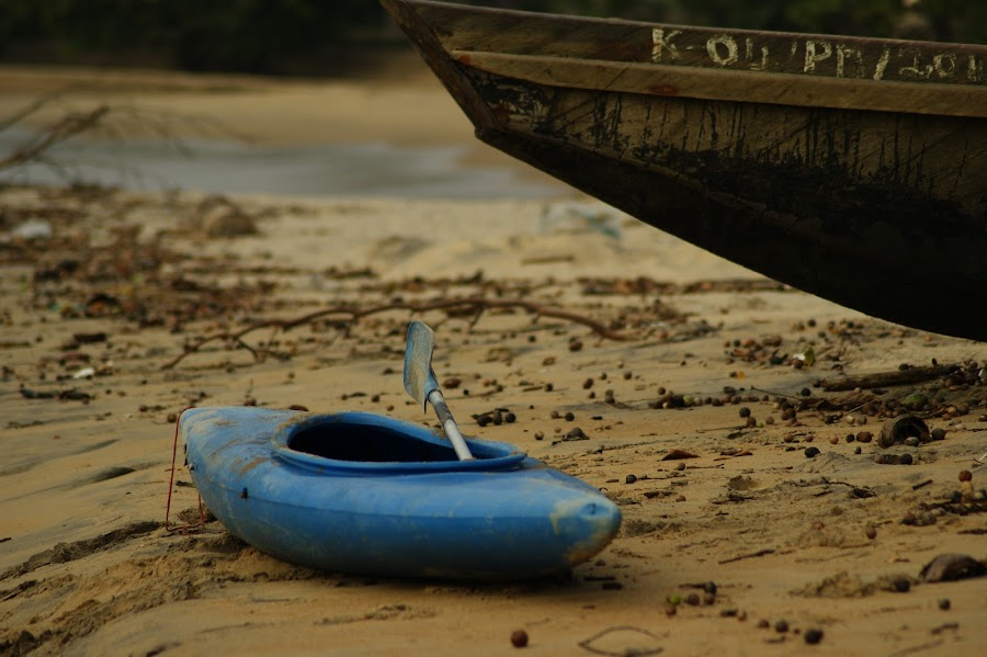 by Arno van den Berg - Artistic Objects Other Objects (  cameroon,  kribi,  beach, kayak,  blue,  canoe )