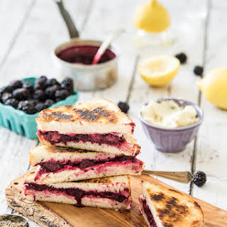 Lemon-Lavender Blackberry & Ricotta Grilled Cheese Sandwiches.