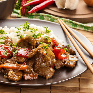 Steak Stir Fry with Grilled Peppers and Onions Recipe