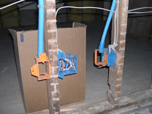 The blue electrical boxes are normal plug-housing fare. The orange  partial  boxes are rated for low voltage only. : low voltage house wiring - yogabreezes.com