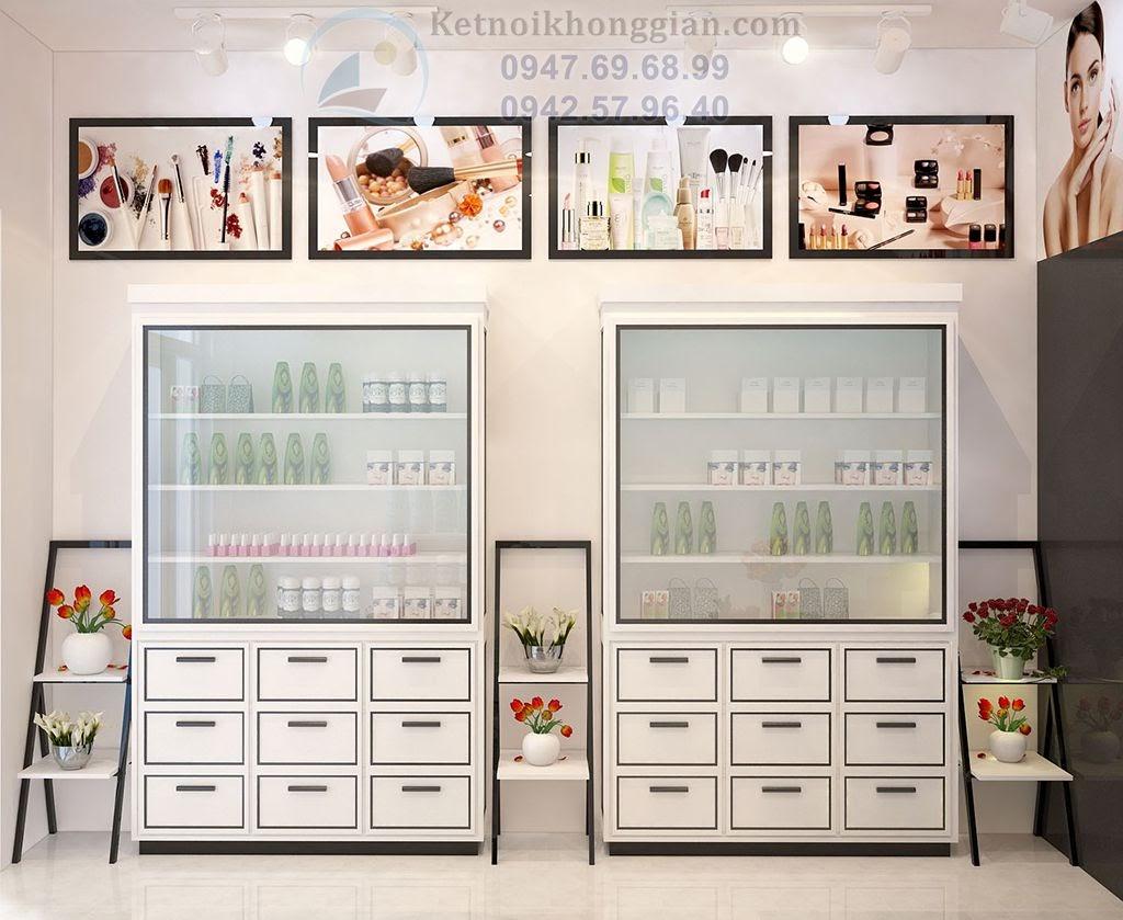 thiết kế cửa hàng mỹ phẩm đẹp tại thị traansa Phùng