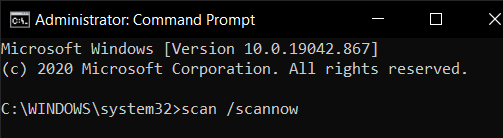 type in sfc /scannow.