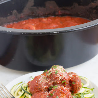 Slow Cooker Homemade Meatballs and Sauce with Zucchini.