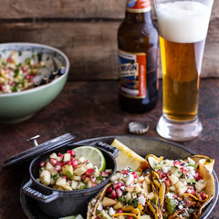 Spicy Cider Beer Braised Chicken Enchilada Tacos w/Sweet Chili Apple-Pomegranate Salsa.