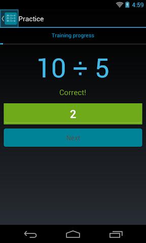 android Division Table Screenshot 1