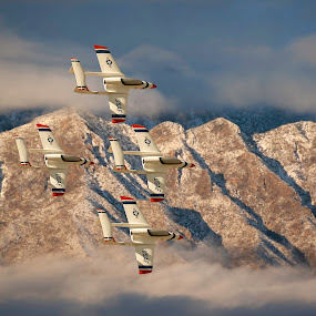 Diamond over the Sandia Mt. by Fred Prince - Transportation Airplanes ( twin boom, sandia mt., composite, rc model, maloof airpark, turbojet, albuquerque, new mexico )