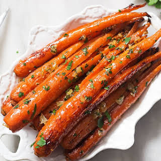 Honey Garlic Butter Roasted Carrots.