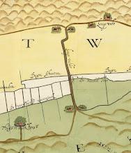 """Photo: Bron: Nationaal Archief, Collectie Hingman, kaart van de grensscheiding tussen Noordwijk en Noordwijkerhout, augustus 1612, Floris Jacobz  Detail van de kaart met verticaal de """"Langevelder Laen""""  https://www.gahetna.nl/collectie/afbeeldingen/kaartencollectie/zoeken/weergave/detail/start/5/tstart/0/q/zoekterm/noordwijk/q/commentaar/1"""