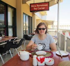 Photo: Pirkko enjoying a cup of red bush tea in President Hotel now Mma Ramotswe Tea Corner