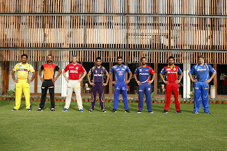 Photo: Kolkata: (From Left) MS Dhoni captain of The Chennai Super Kings , Shikhar Dhawan captain of the Sunrisers Hyderabad , George Bailey of the Kings XI Punjab , Gautam Gambhir captain of the Kolkata Knight Riders, Rohit Sharma captain of the Mumbai Indians, Jean-Paul Duminy captain of the Delhi Daredevils ,Virat Kohli captain of the Royal Challengers Bangalore and Shane Watson captain of the Rajatshan Royals pose for a photograph ahead of IPL 2015. (Photo: IANS/BCCI)