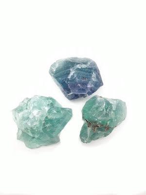 Fluorit, rå i olika färger