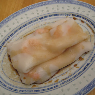 Cheong Fun (Rice Noodle Rolls) with Shrimp.